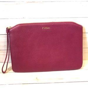 Like New FURLA Berry Leather Wristlet